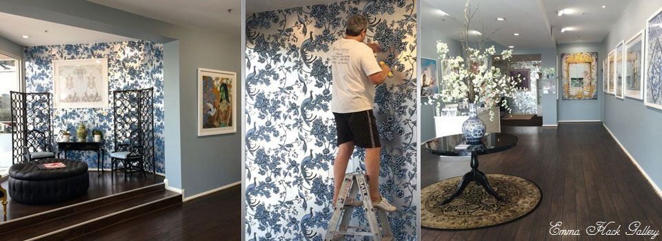 About Us - Gary Lancaster hangs Signature Wallpaper in the Emma Hack Gallery.